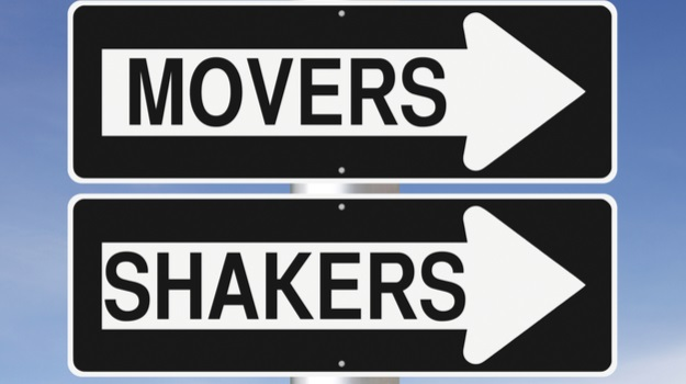 One way traffic signs, one reading movers and the other reading shakers