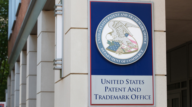 US patent and trademark office sign on outdoor wall