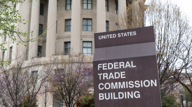 Federal Trade Commission Buildling with sign and name out front