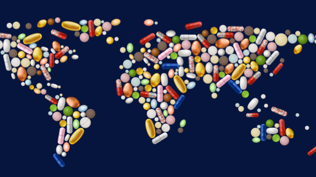 World Map made up of colorful Pills