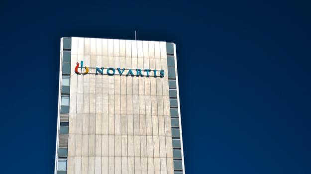 Novartis logo on large outdoor sign