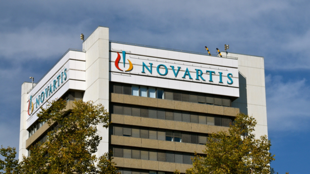 Novartis building with logo on it