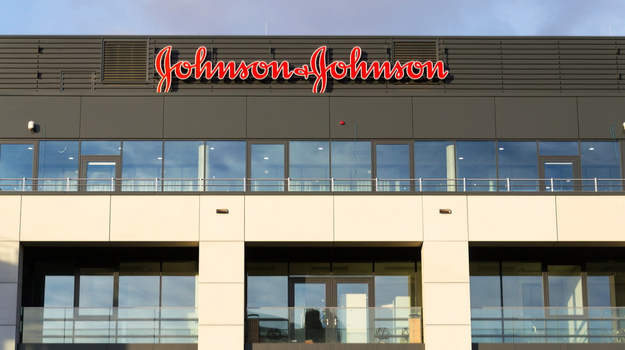 Johnson and Johnson logo on large outdoor sign