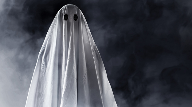 person in ghost costume