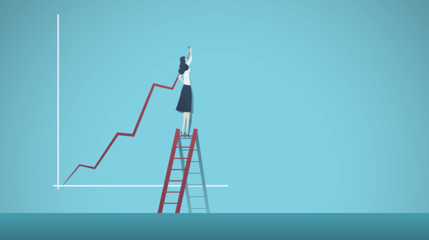 Woman standing on ladder at wall, drawing arrow on a graph increasing