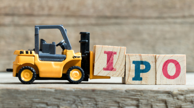 toy forklift moving blocks with letters IPO