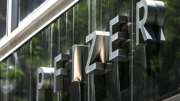 Pfizer logo on large outdoor sign