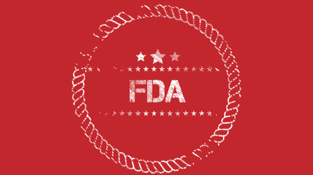 FDA logo on stamp with red background