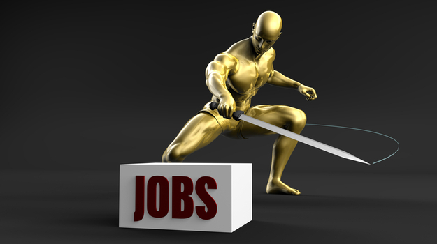 gold figurine cutting block that says jobs with sword