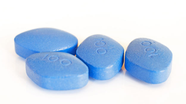 Four blue Viagra pills