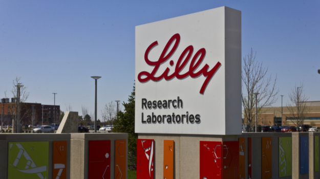 Lilly research laboratories logo on large outdoor sign